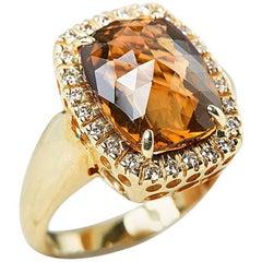 Citrine Diamond 14 Karat Yellow Gold Ring