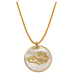 Hand-Worked Chinoiserie Pendant, Hand-Hammered 18 Karat Gold and Mother-of-Pearl