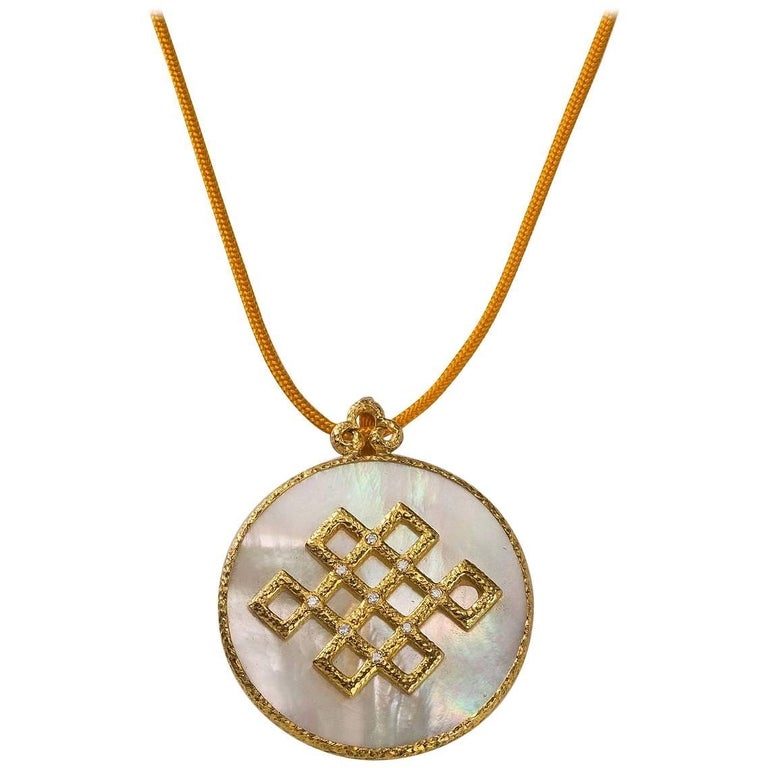 Chinoiserie Pendant, Hand-Hammered 18 Karat Gold, Diamonds and Mother-of-Pearl