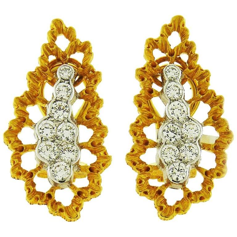 Buccellati 18 Karat Gold and Diamond Earrings