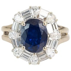 1970s GIA Certified 2.0 carat Sapphire, Diamond and 14k White Gold Ring