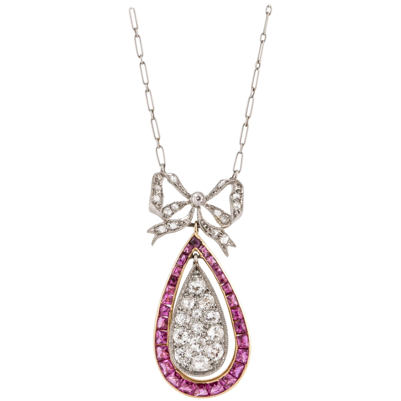 Belle Époque Platinum and 18K Gold Diamond and Ruby Pendant Necklace