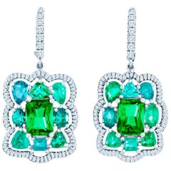 Bespoke Tsavorite Paraiba Tourmaline Diamond Earrings