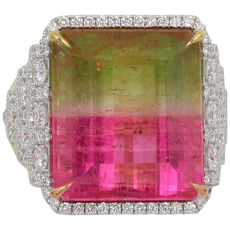 Frederic Sage 28.70 Carat Watermelon Tourmaline Diamond Cocktail Ring