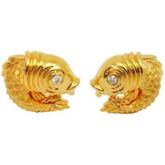 Henry Dunay  Diamond Gold Fish Cufflinks