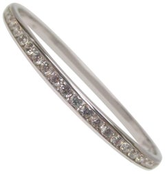 Diamond White Gold Hinged Bangle Bracelet