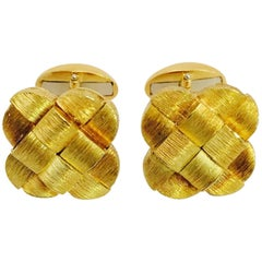 Handsome Henry Dunay Gold Woven Cufflinks