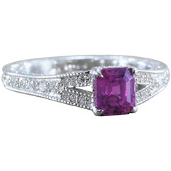 1.31 Carat GIA Certified Gem Pink Sapphire Diamond Platinum Ring