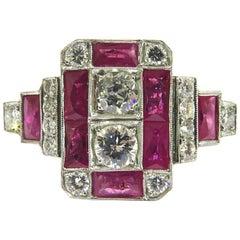 Stunning Diamond Ruby Platinum  Ring