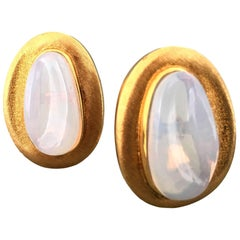 Impressive Burle Marx Moonstone and Gold Earrings