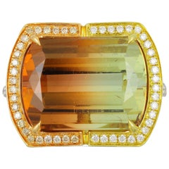 Frederic Sage 16.75 Carat Bi-Color Tourmaline Diamond Ring