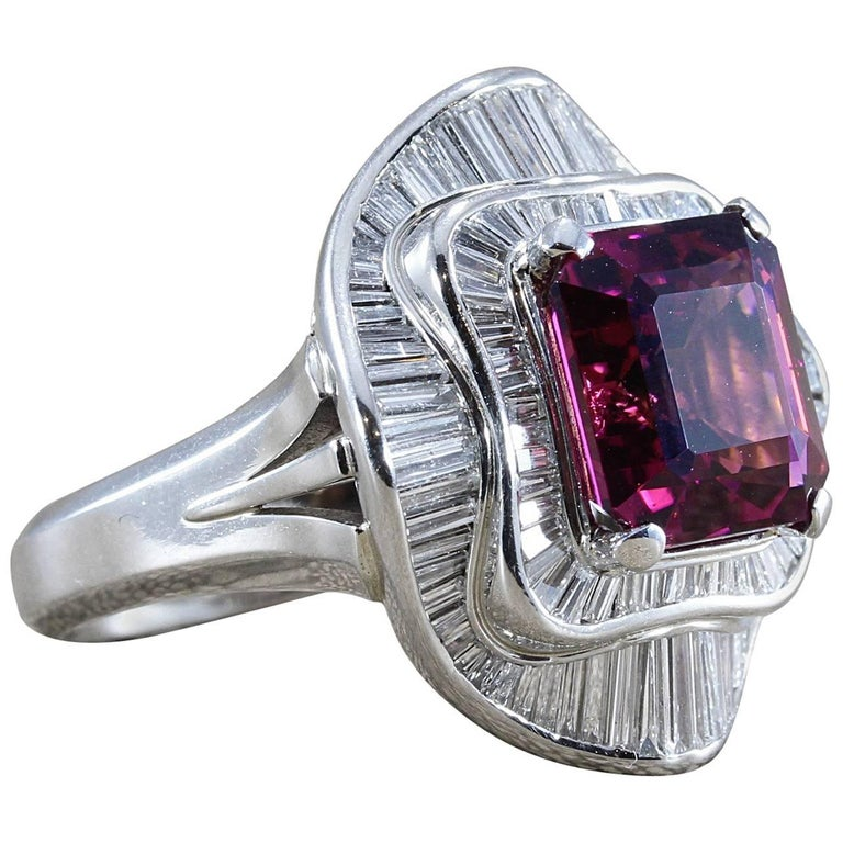 Big Tourmaline Diamond Platinum Cocktail Ring