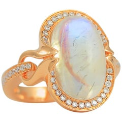 Frederic Sage 11.74 Carat Moonstone & Diamond Cocktail Ring