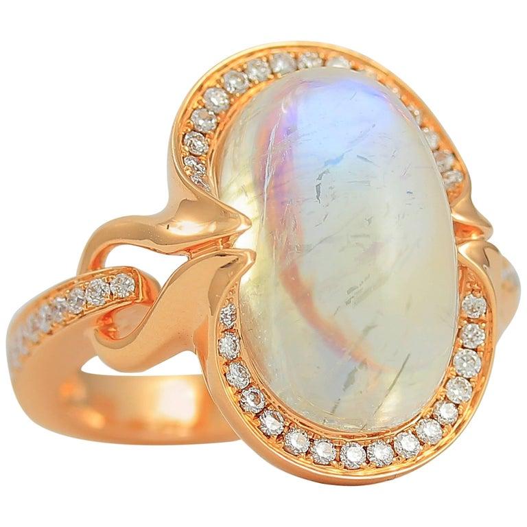 Frederic Sage 11.74 Carat Moonstone Diamond Ring