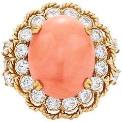 1960s Van Cleef & Arpels Coral Diamond Ring