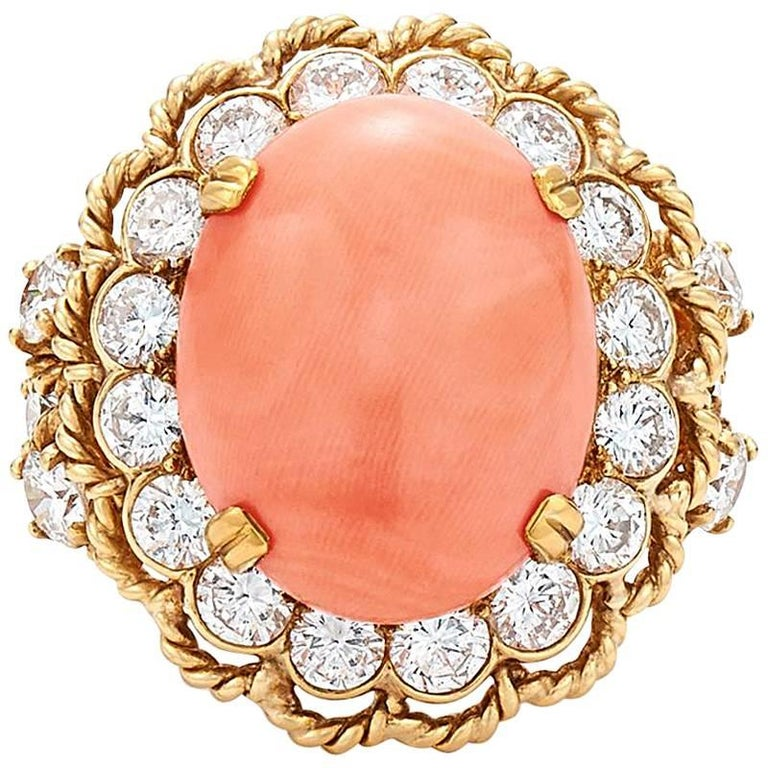 1960s Van Cleef & Arpels Coral Diamond Ring  For Sale