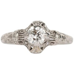 1910 Edwardian Platinum .40 Carat Old European Brilliant Diamond Engagement Ring