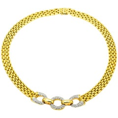 Yellow Gold Chain Link Necklace with Three Diamond Pave Circles