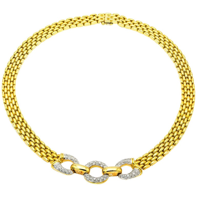 Yellow Gold Chain Link Necklace with Three Diamond Pave Circles For Sale