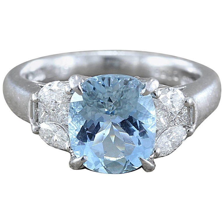 Gem Aquamarine Diamond Platinum Ring