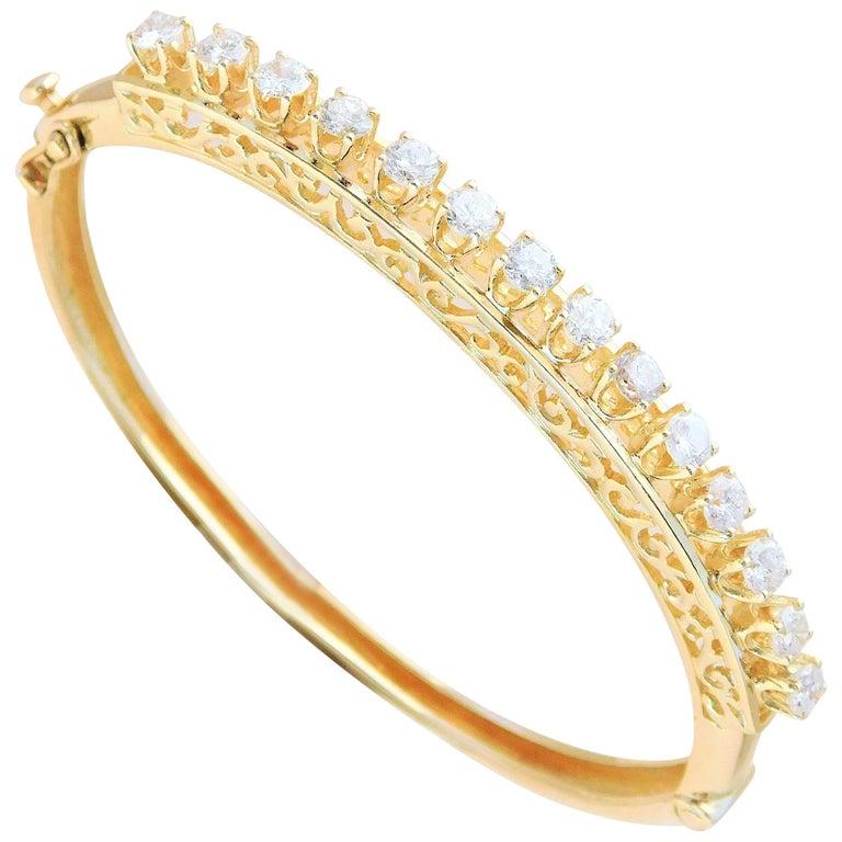 Vintage 14 Karat Gold Bangle Diamond Bracelet