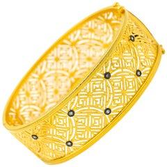 Gold Vermeil Filigree and Diamond Cuff Clasp Bracelet with Accent Diamonds