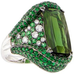 Green Tourmaline Garnet Diamond Gold Ring