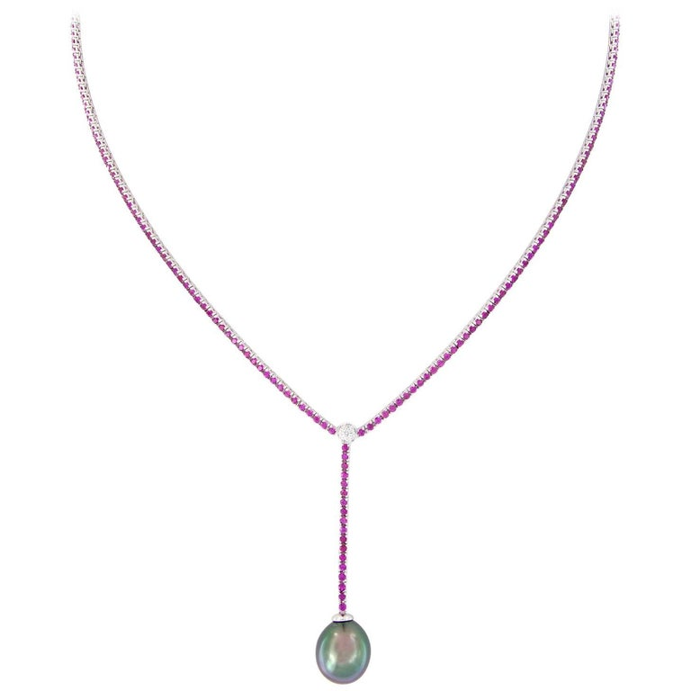 Pink Sapphire Diamond Tahitian Pearl Y-Drop Necklace