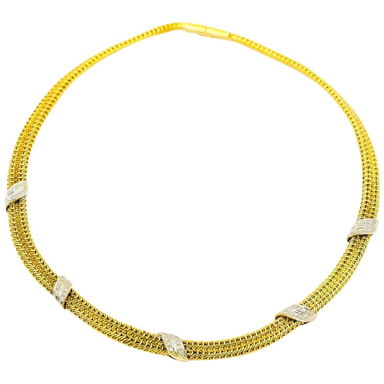 Woven Chain Mesh Necklace with Diamonds in Yellow and White Gold