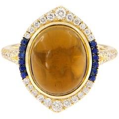 Danhier Citrine Sapphire Diamond Gold Ring