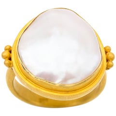 Large White Fresh Water Organic Tear Drop Pearl in 22 Karat Yellow Gold Ring