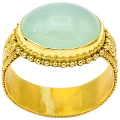 Chalcedony and 22 Karat Yellow Gold Granular Statement Ring