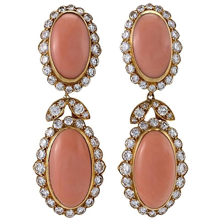 Van Cleef & Arpels 1970s Coral and Diamond Earrings
