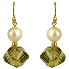 Decadent Jewels Lemon Quartz and Pearl Gold Earrings