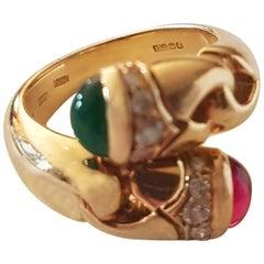 Bulgari Diamond, Emerald and Ruby Ring