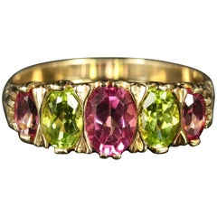 Antique Victorian Suffragette Ring Tourmaline Peridot