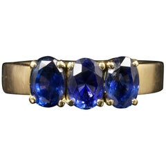 Antique Victorian Sapphire Trilogy 18 Carat Gold Ring 2 Carat of Sapphires