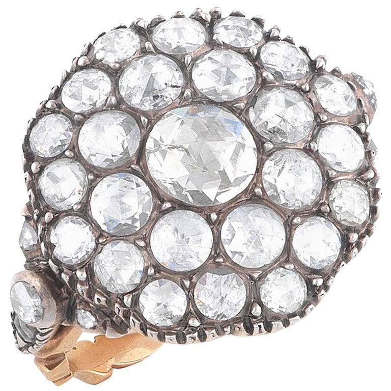 Rose Cut Diamond Round Cluster Ring