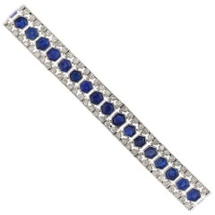 French Art Deco Sapphire and Diamond Bracelet