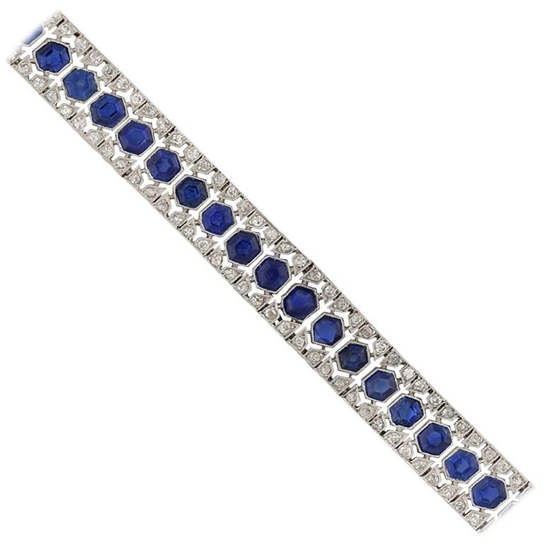 French Art Deco Sapphire and Diamond Bracelet 1