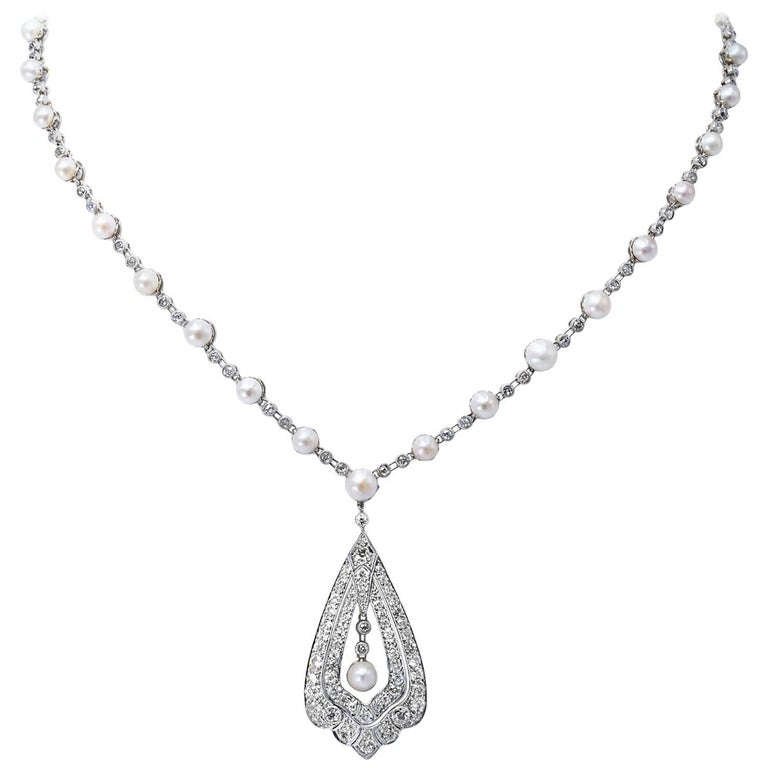 Edwardian Pearl Diamond Platinum Necklace