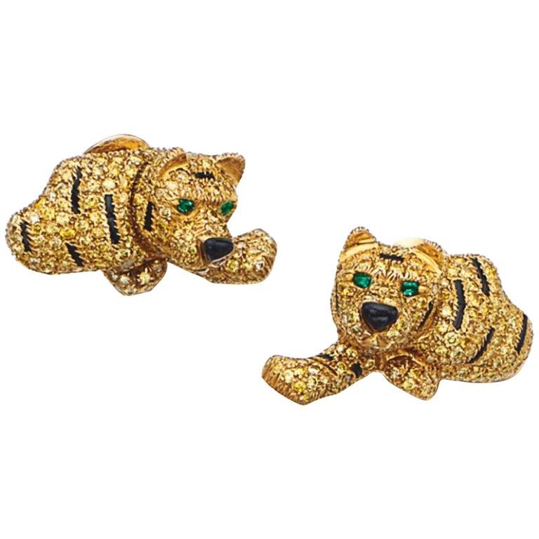 Yellow Diamond Tiger Earrings For Sale