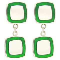 Jona Green Enamel Sterling Silver Cufflinks