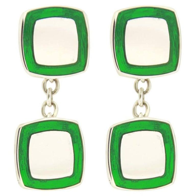 Jona Green Enamel Sterling Silver Cufflinks 1