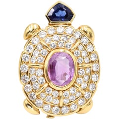 Pink Blue Sapphire Diamond Turtle Brooch