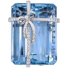 "Tiffany & Co.  ""Gift Wrap"" Aquamarine Diamond Brooch"