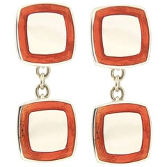 Jona Orange Enamel Sterling Silver Cufflinks