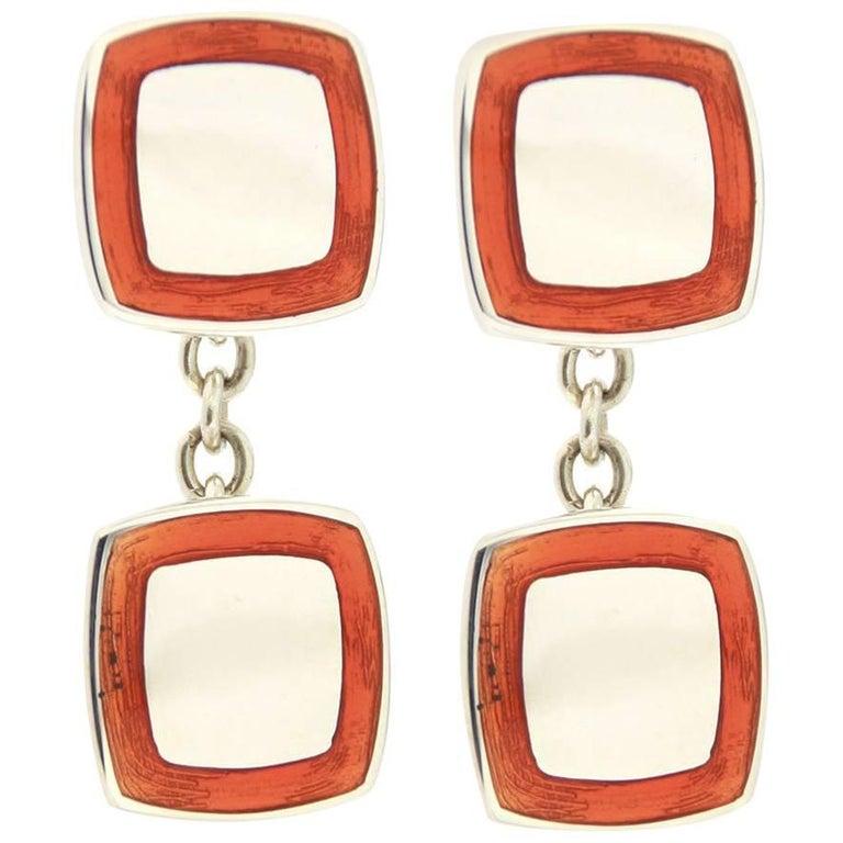 Jona Orange Enamel Sterling Silver Cufflinks