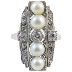 Art Deco Diamond 0.40 Carat and Pearl Plaque Cocktail Ring, 18 Carat White Gold