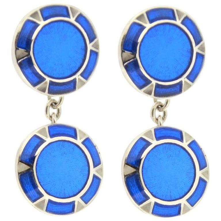 Jona Blue Enamel Sterling Silver Cufflinks 1